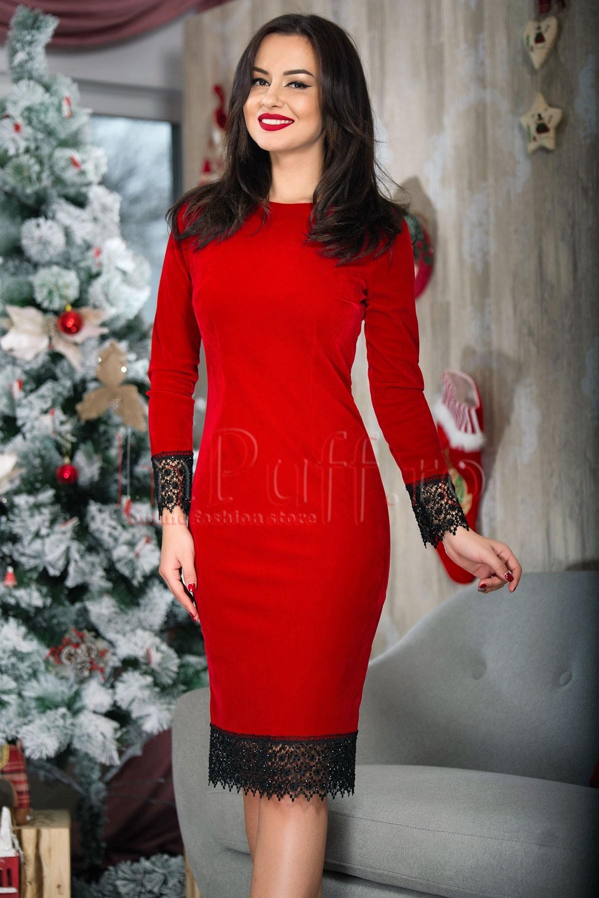 Rochie eleganta rosie din catifea