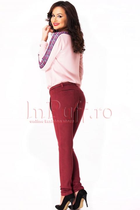 Pantaloni eleganti bordo din piele intoarsa