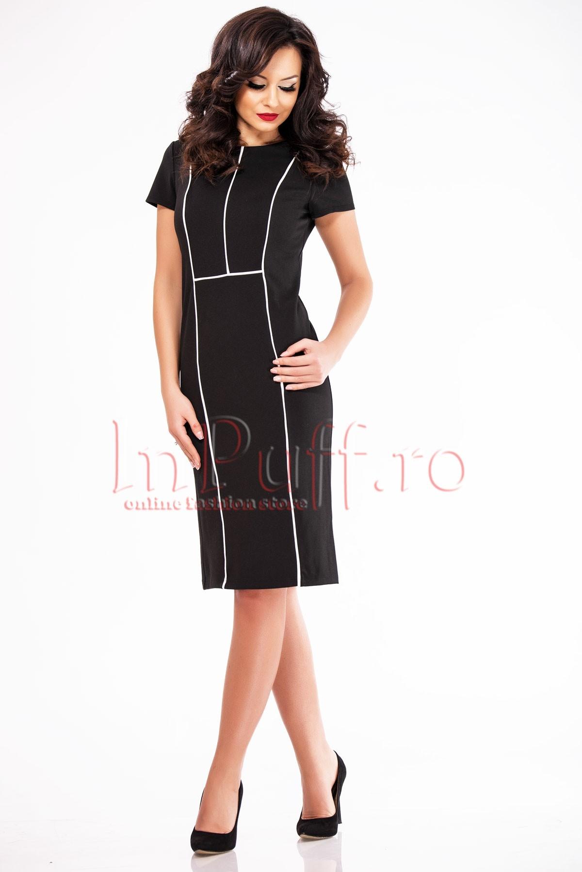 Rochie de zi eleganta neagra cu dungi albe