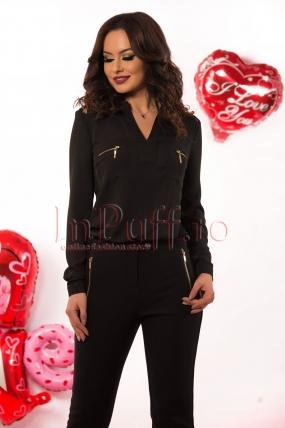 Bluza neagra din voal accesorizata cu fermoare aurii