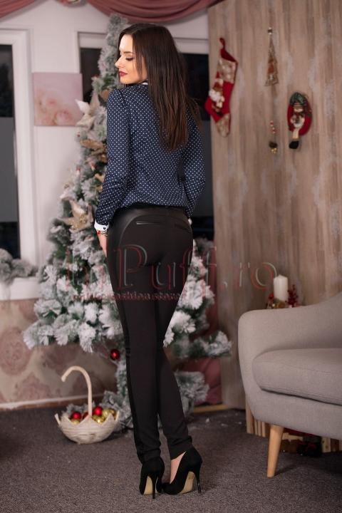Pantaloni negri cu fermoare aurii si detalii din piele ecologica