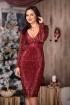 Rochie de ocazie grena accesorizata cu paiete rosii si detalii aurii