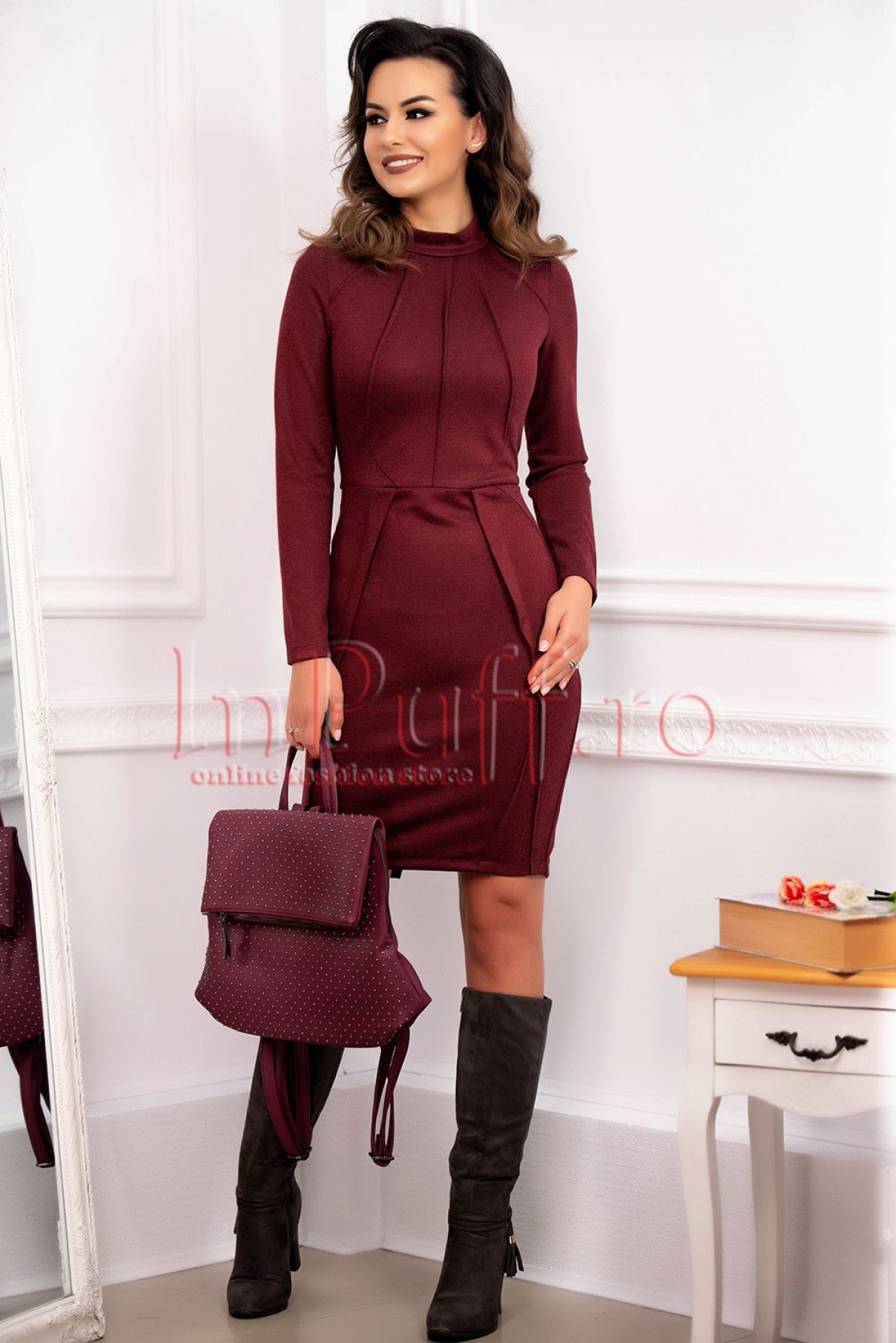 Rochie casual grena din tricot elastic