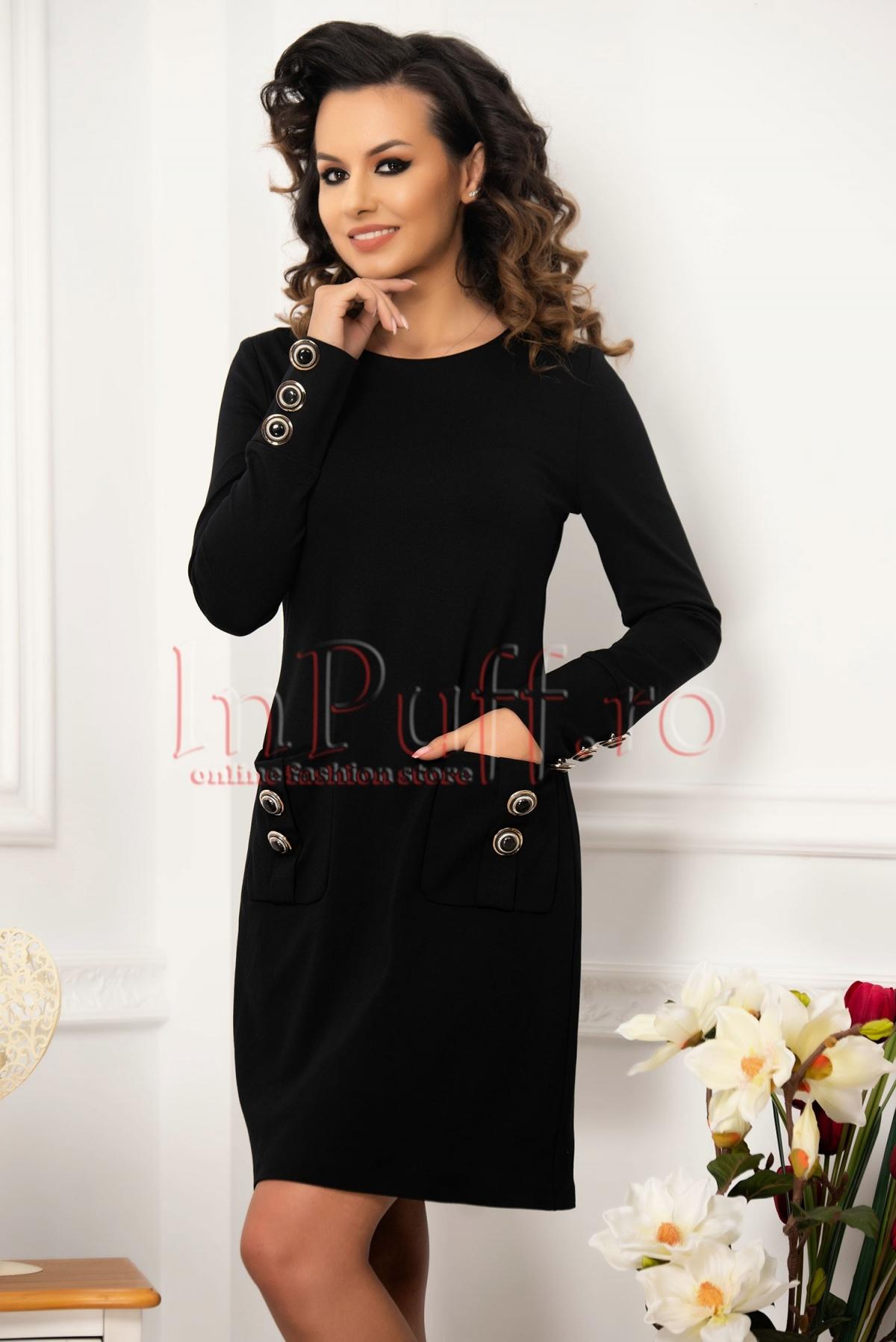 Rochie de zi lejera neagra accesorizata cu nasturi