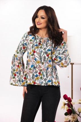 Bluza ivoire cu imprimeu floral
