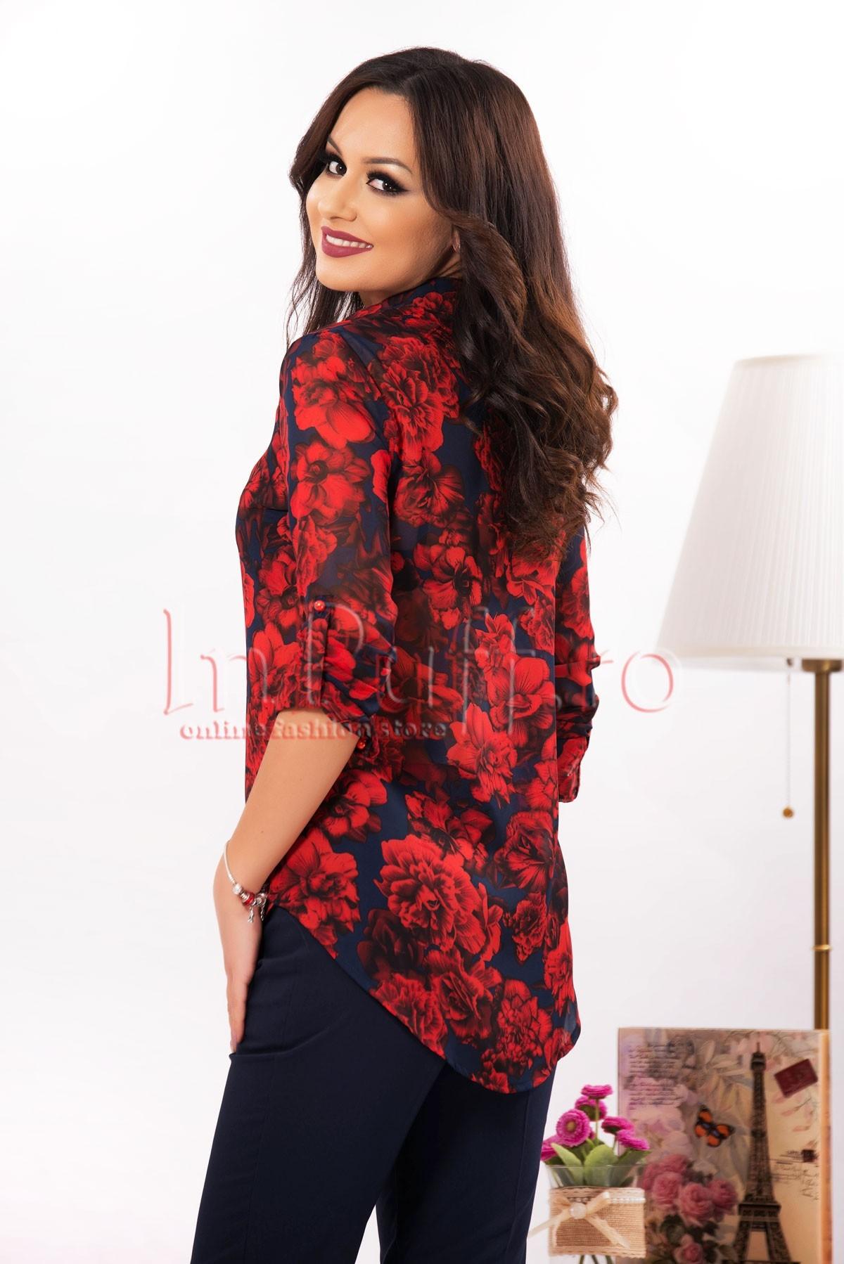 Bluza eleganta din voal cu imprimeu trandafiri