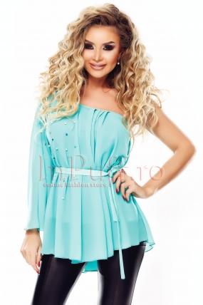 Bluza eleganta din voal turquoise accesorizata cu perle
