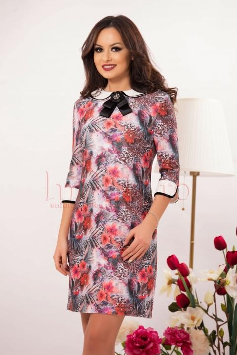 Rochie eleganta cu imprimeu colorat si funda neagra la gat