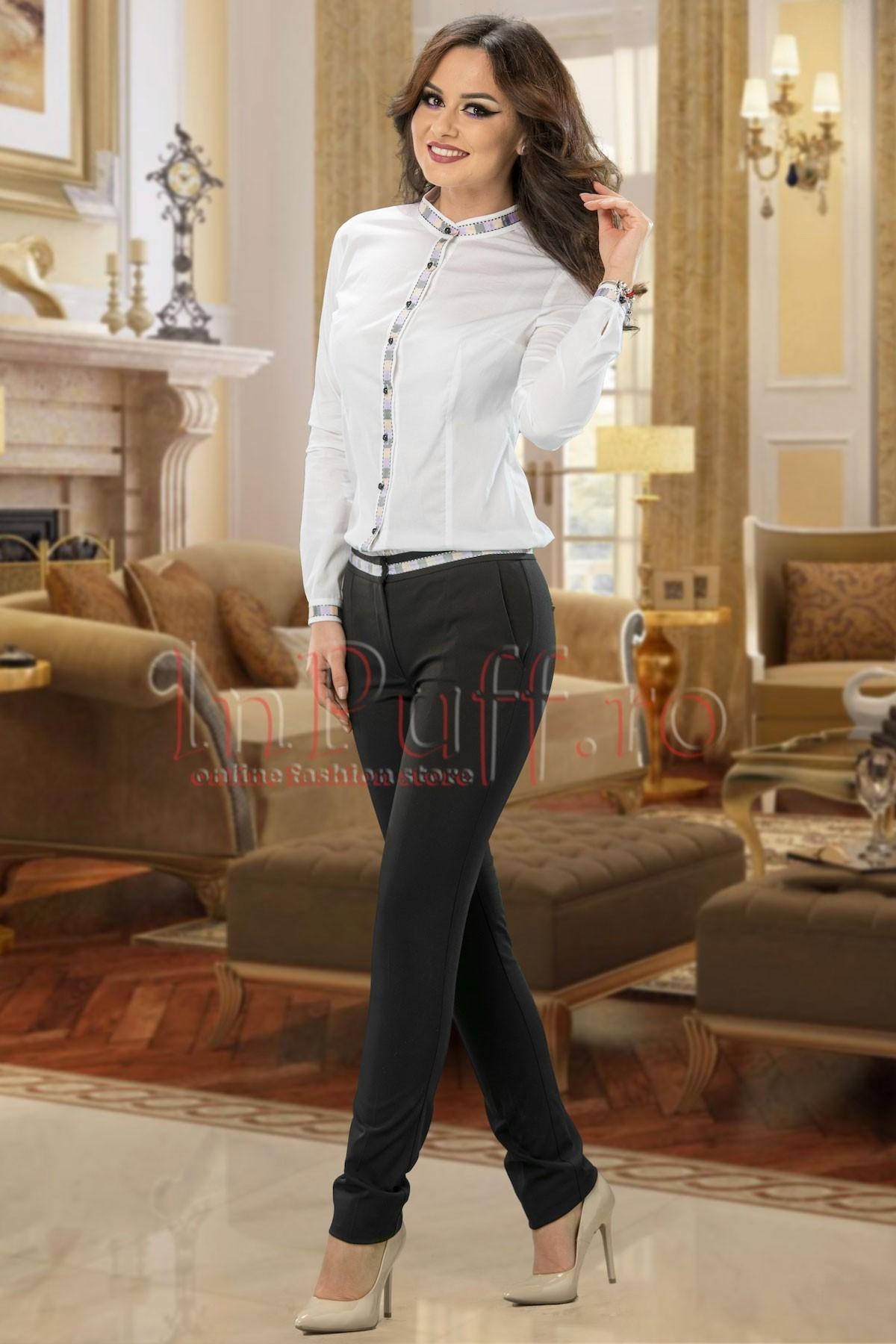 Pantaloni negri dama cu banda colorata in talie