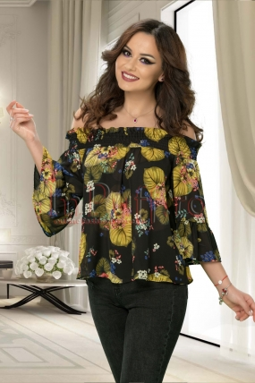 Bluza pe umeri cu imprimeu colorat