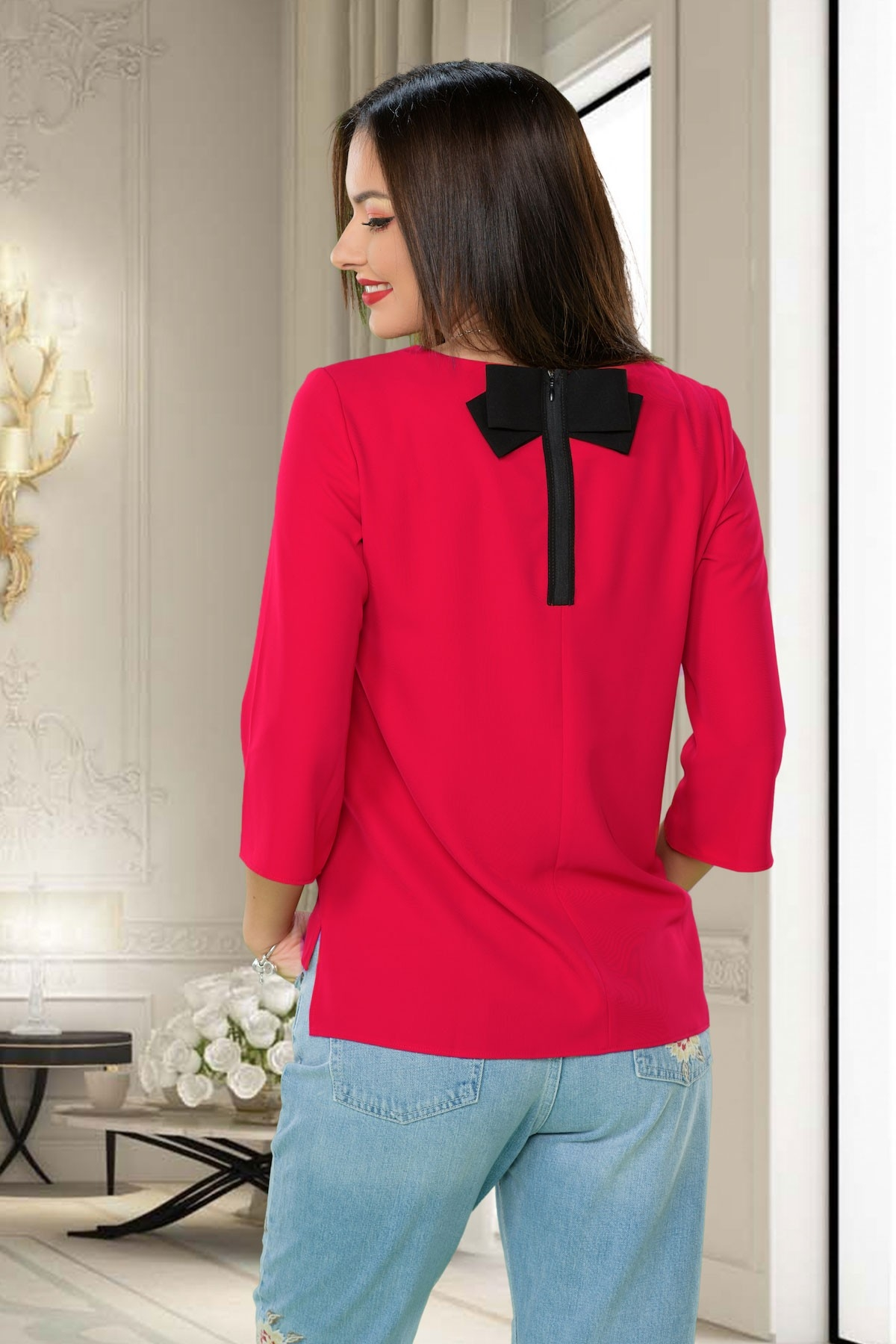 Bluza roz dama accesorizata cu funda la spate