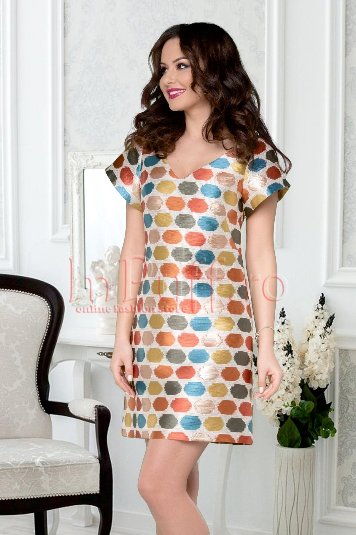 Rochie eleganta cu buline colorate