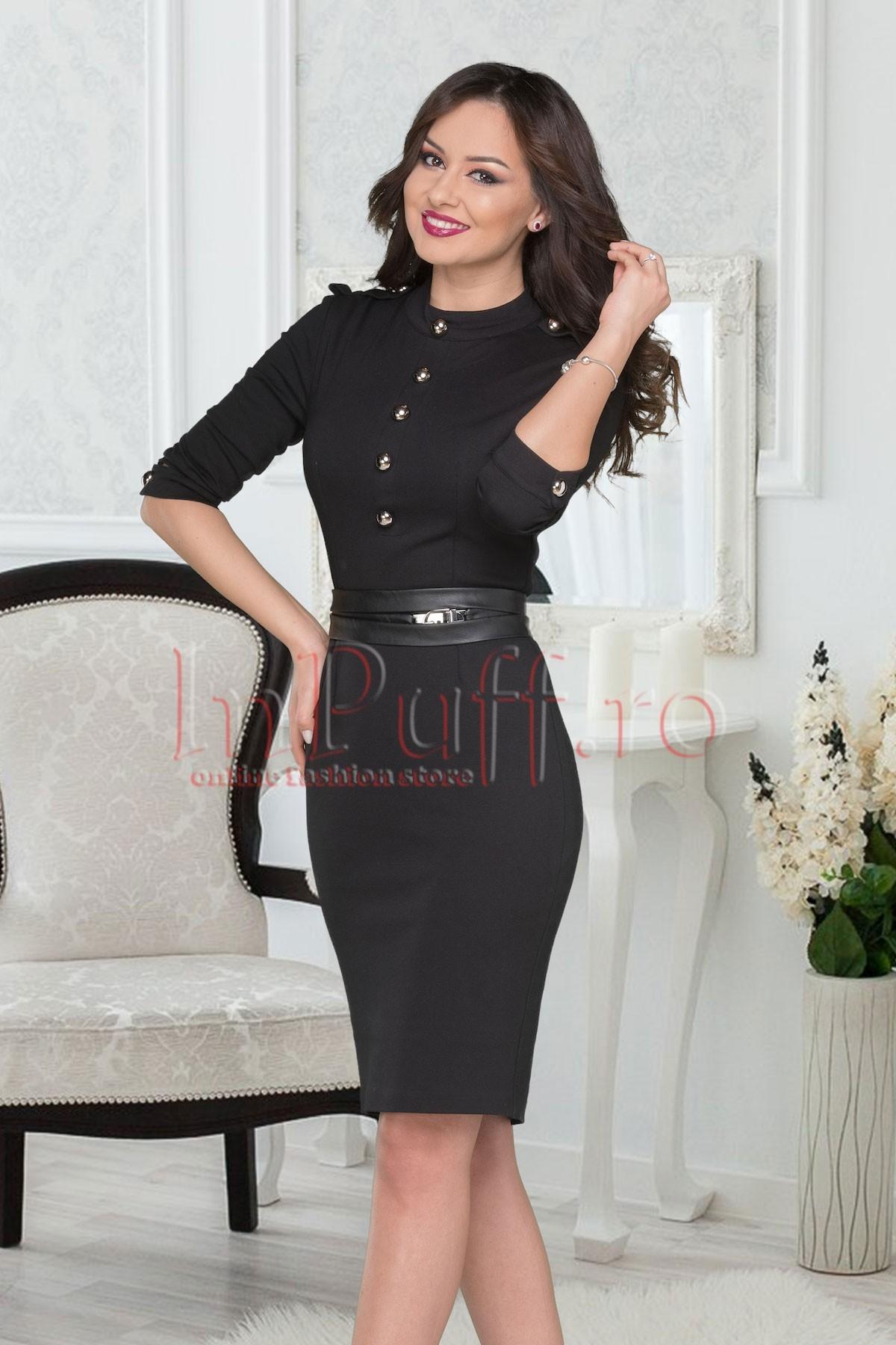 Rochie casual neagra cu accesoriu in talie