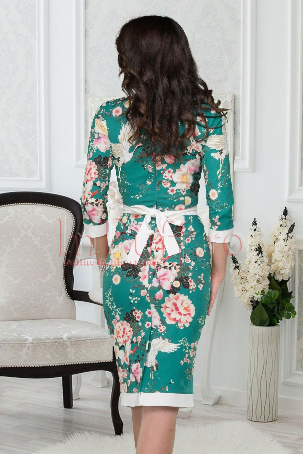 Rochie eleganta verde cu imprimeu floral
