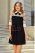 Rochie eleganta cu broderie colorata si funda la gat