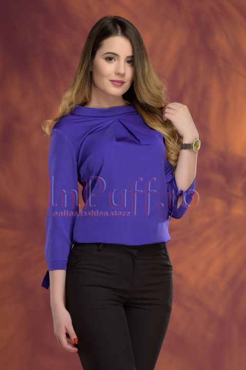 Bluza eleganta mov cu maneci trei sferturi
