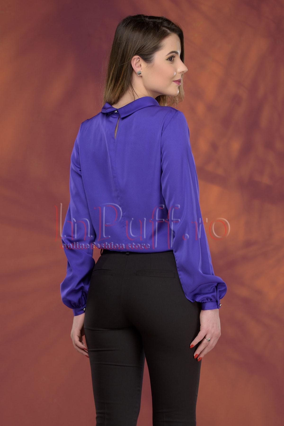 Bluza eleganta mov cu pliuri
