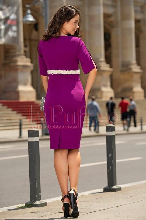 Rochie midi eleganta cu perle in talie