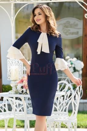 Rochie eleganta bleumarin cu volane la maneci