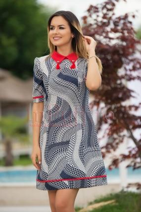 Rochie Fofy eleganta cu imprimeu geometric si guler rosu cu ciucuri