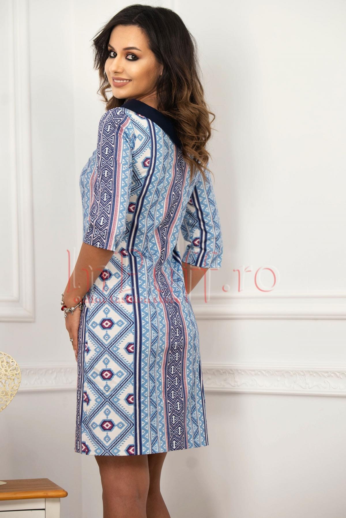 Rochie de zi dreapta cu imprimeu si buzunare