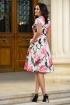 Rochie eleganta din tafta cu imprimeu floral colorat