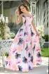 Rochie MBG de seara lunga alba cu imprimeu floral