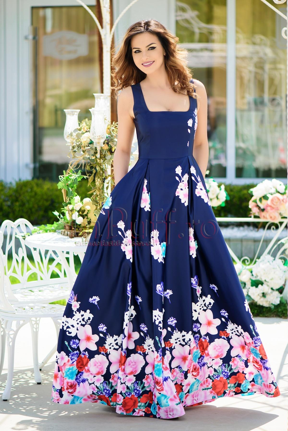 Rochie MBG de seara lunga bleumarin cu imprimeu trandafiri