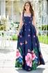 Rochie MBG de seara lunga bleumarin cu imprimeu floral