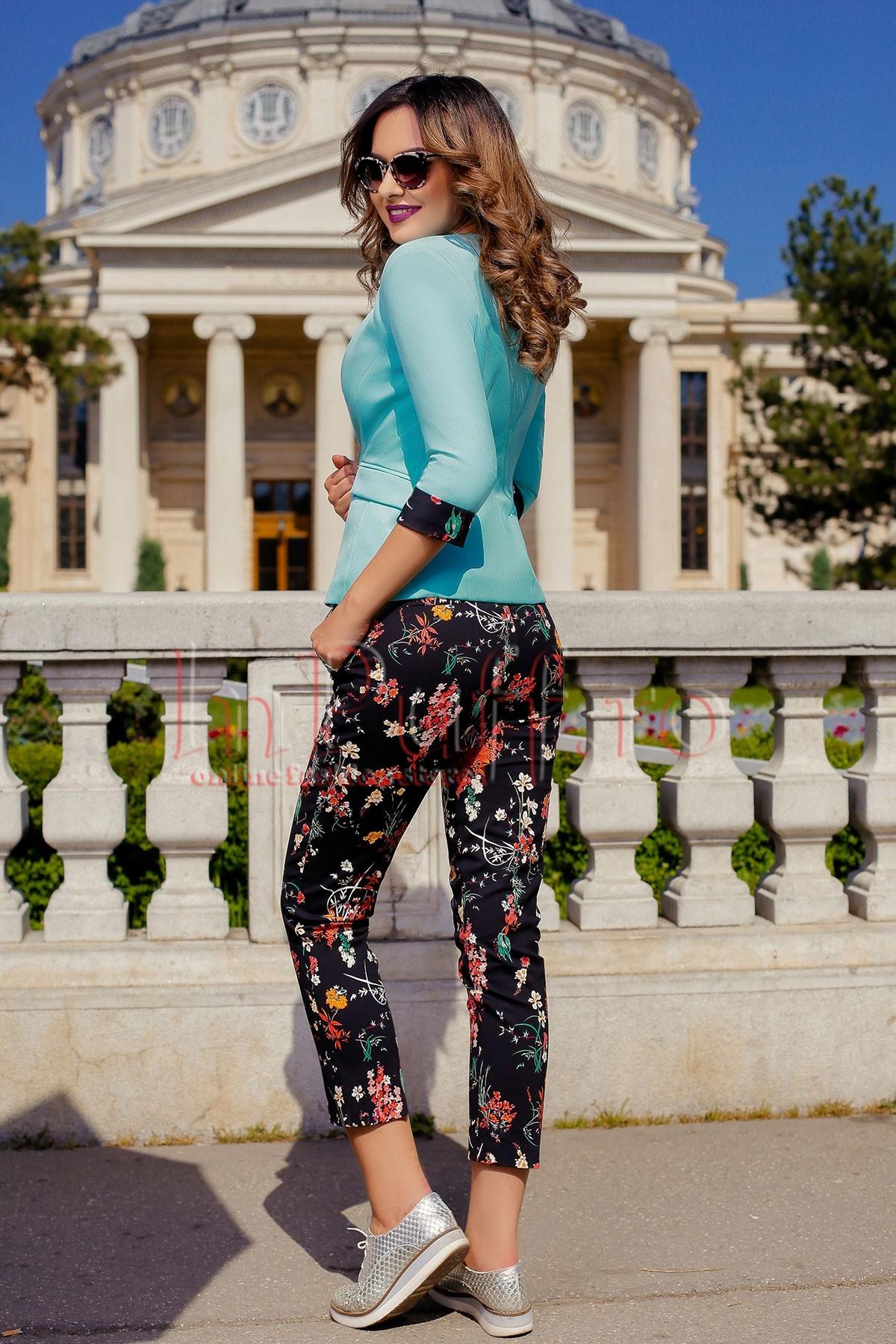 Pantaloni casual dama negri cu flori