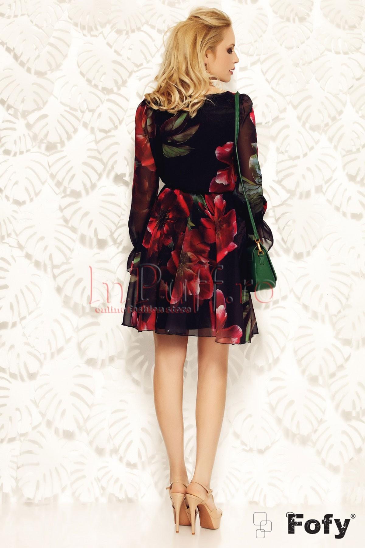 Rochie Fofy eleganta din voal cu flori rosii imprimate