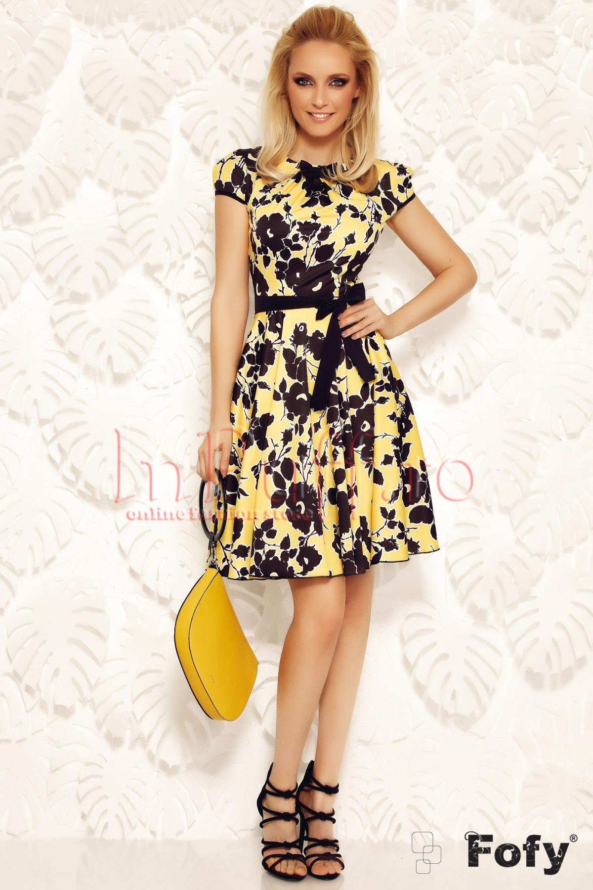 Rochie Fofy eleganta galbena cu imprimeu floral bleumarin