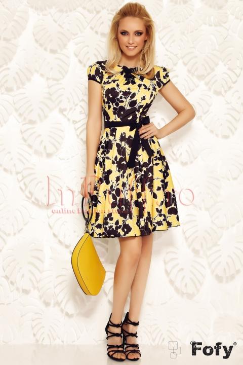Rochie Fofy eleganta galbena cu imprimeu floral negru