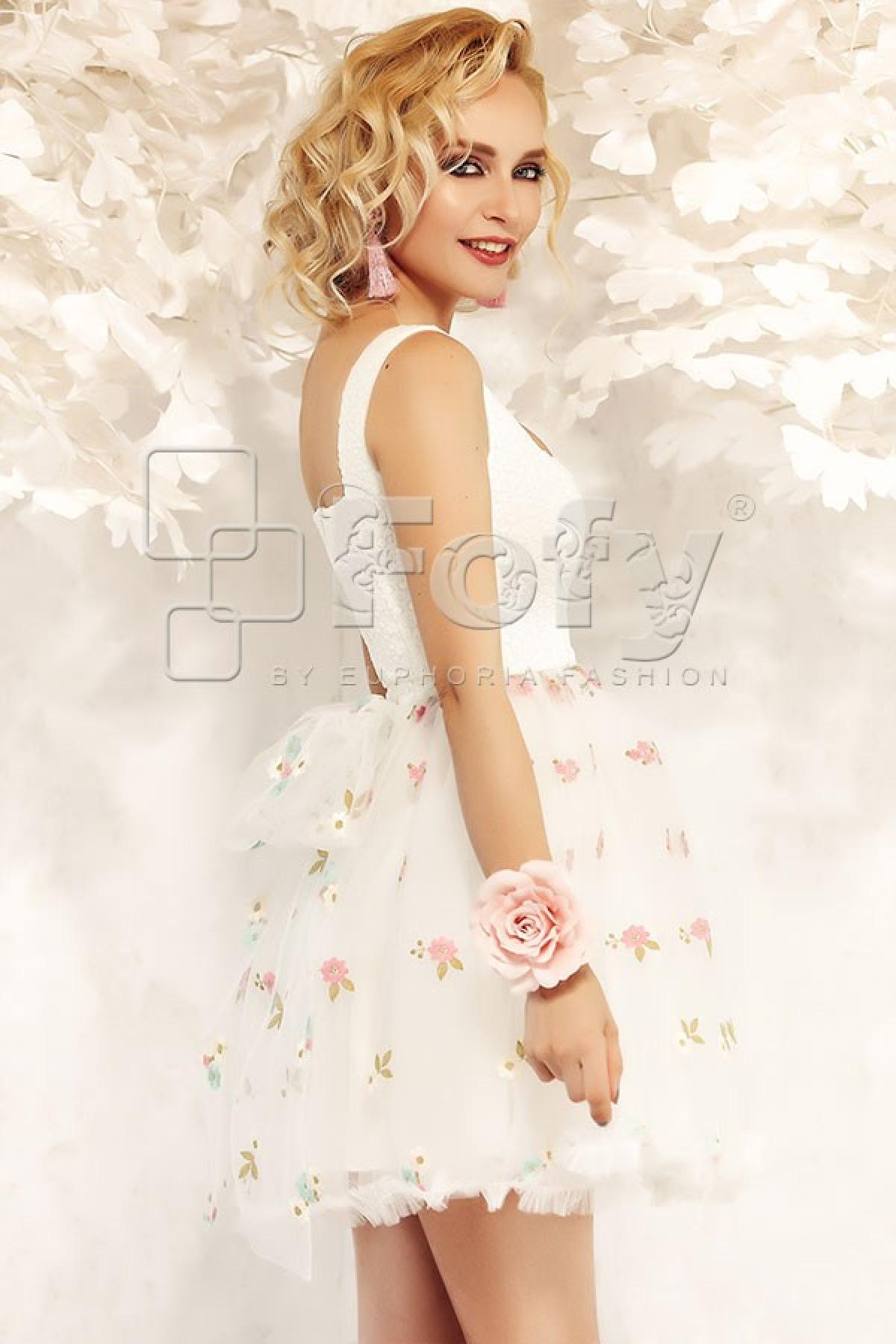 Rochie Fofy de ocazie roze din tul si dantela