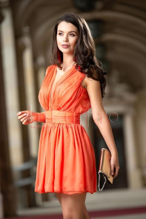 Rochie Atmosphere de ocazie scurta din voal orange