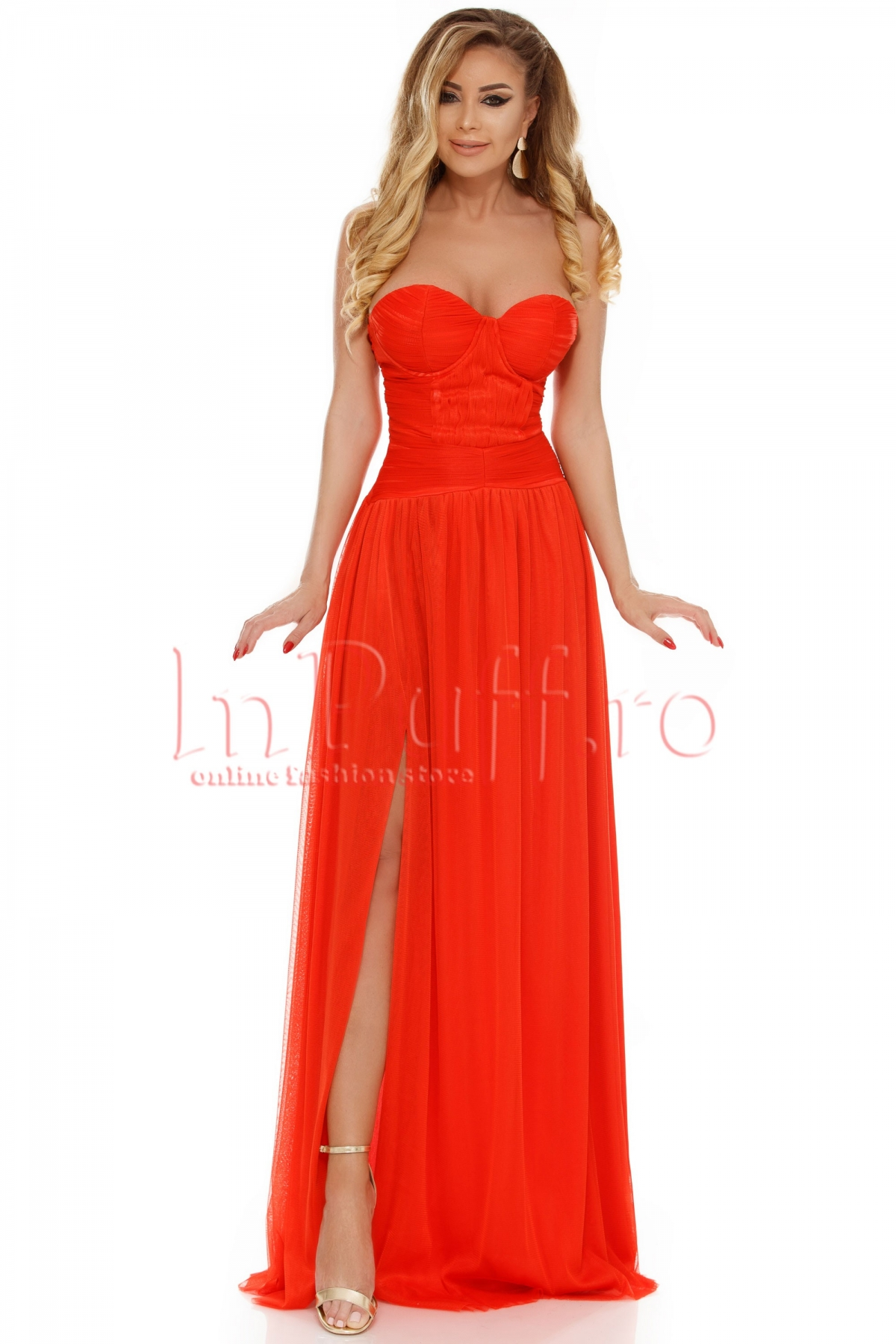 Rochie Atmosphere orange din tul