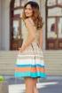 Rochie eleganta MBG bej cu dungi accesorizata cu buzunare