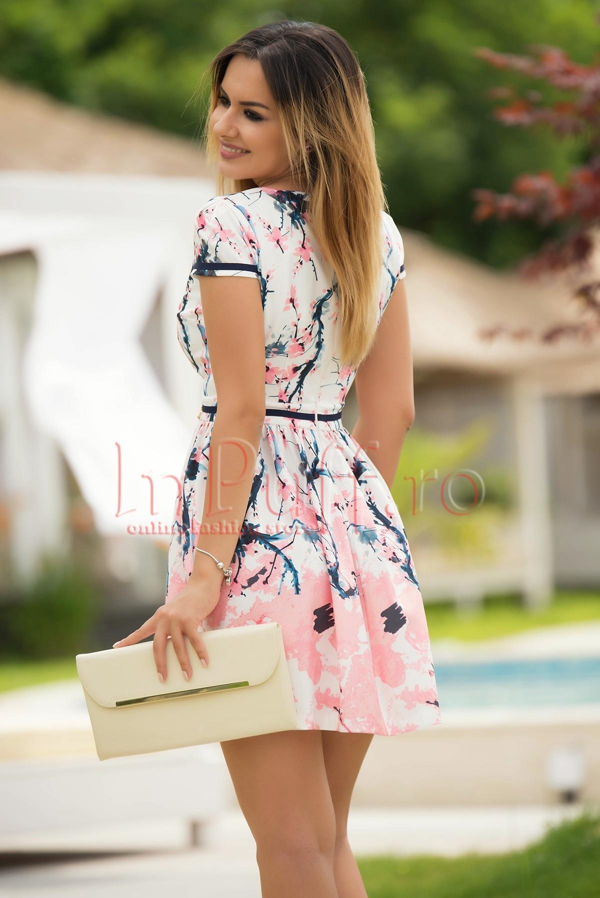 Rochie Fofy eleganta cu imprimeu roz