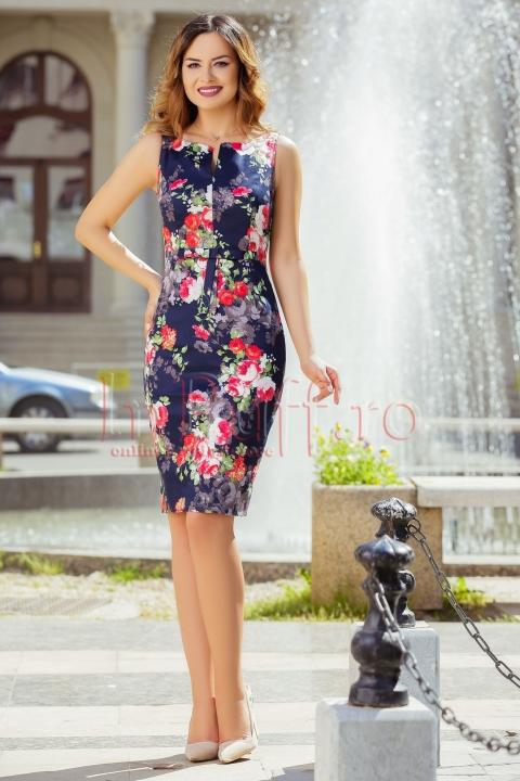 Rochie MBG eleganta bleumarin cu imprimeu floral