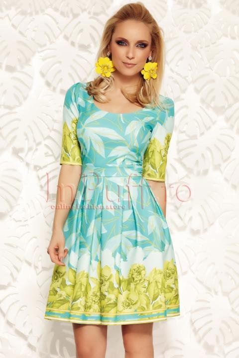 Rochie Fofy eleganta turquoise cu imprimeu floral