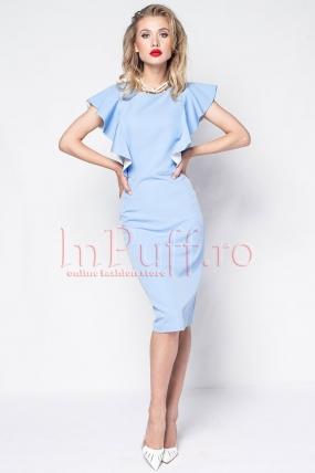 Rochie eleganta bleu cu volanase la maneci