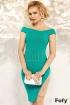 Rochie Fofy verde accesorizata cu perle