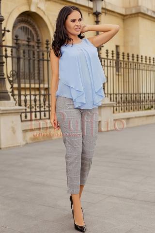 Bluza bleu lejera de vara cu pliuri