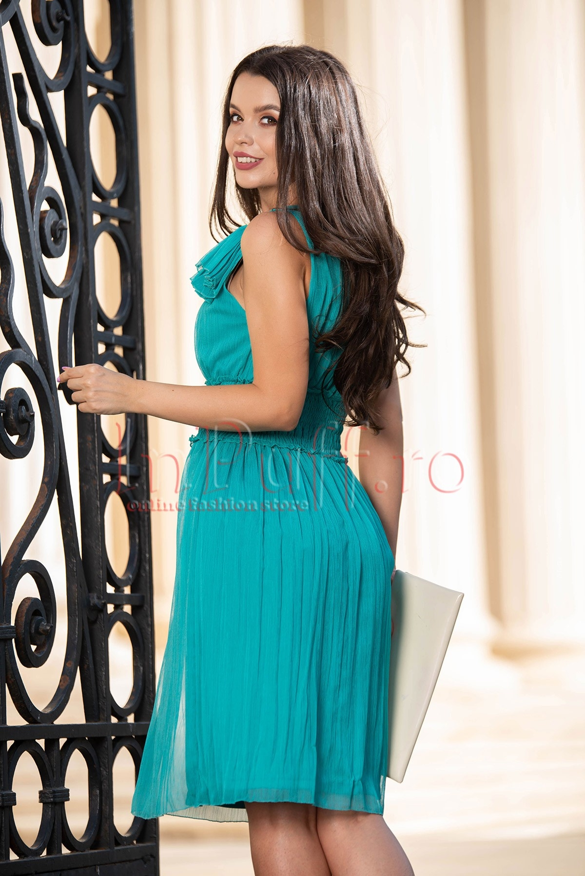Rochie Xara eleganta verde din crep