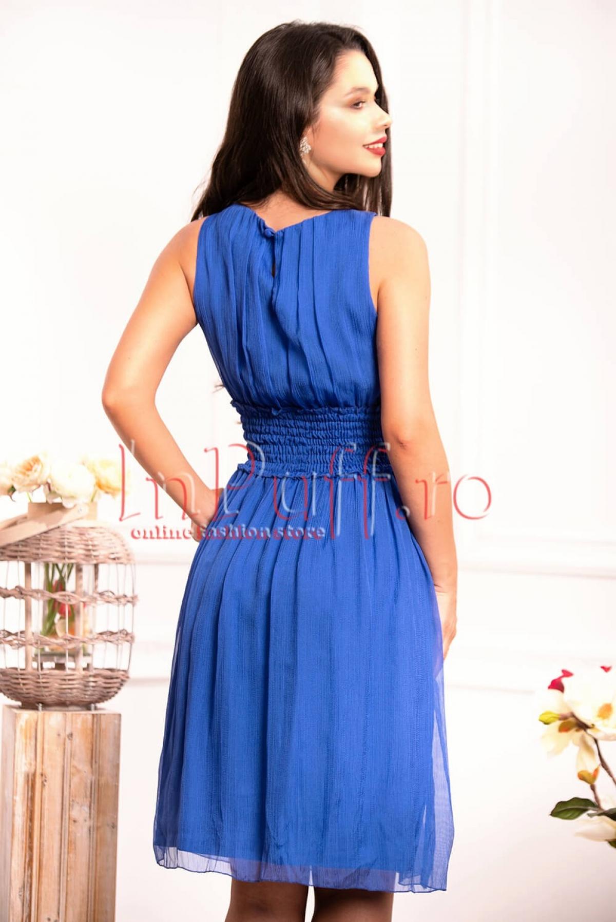 Rochie Xara eleganta albastra din crep