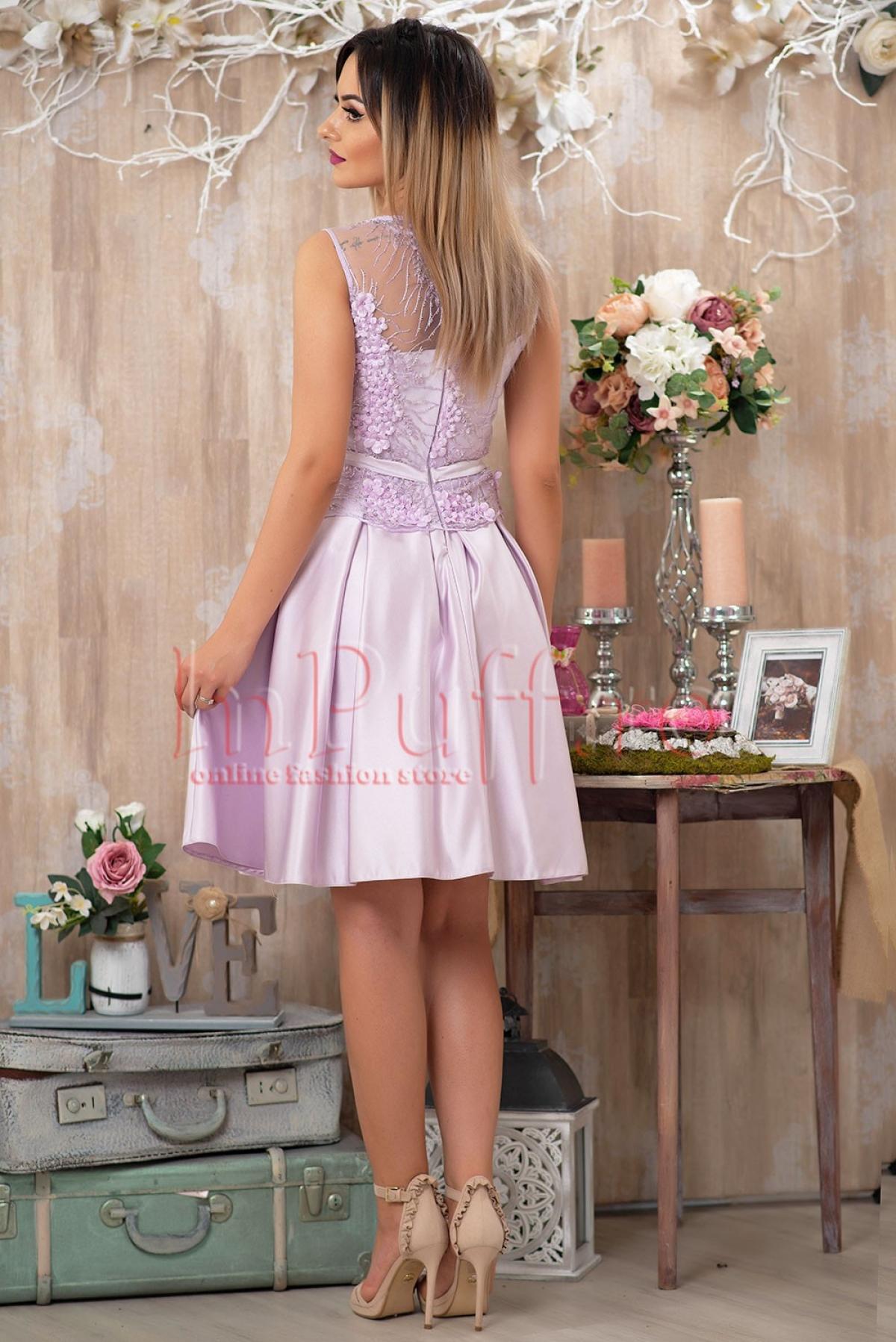 Rochie lila din tafta si tul accesorizat cu flori 3D