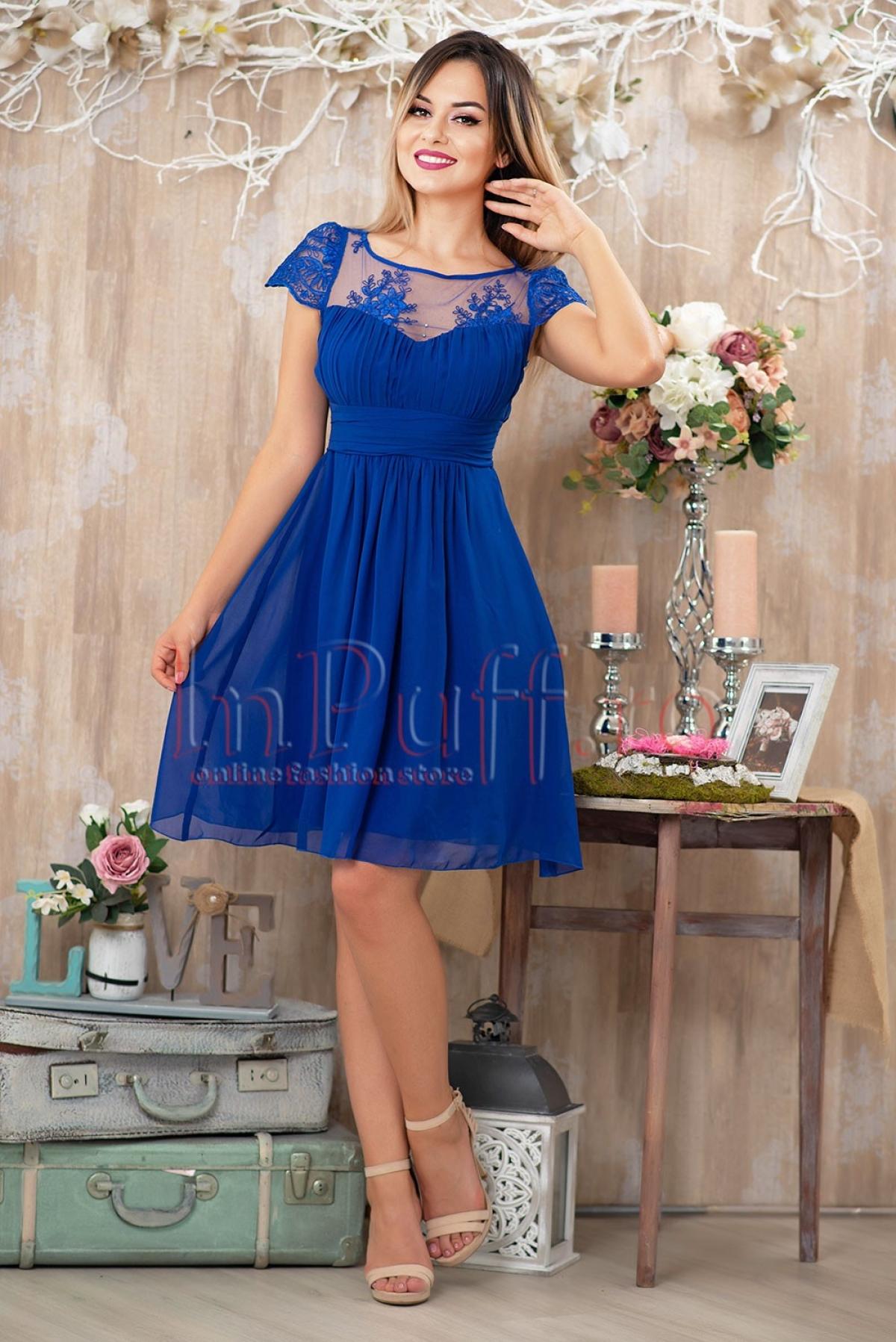 Rochie de ocazie albastru electric din voal si broderie