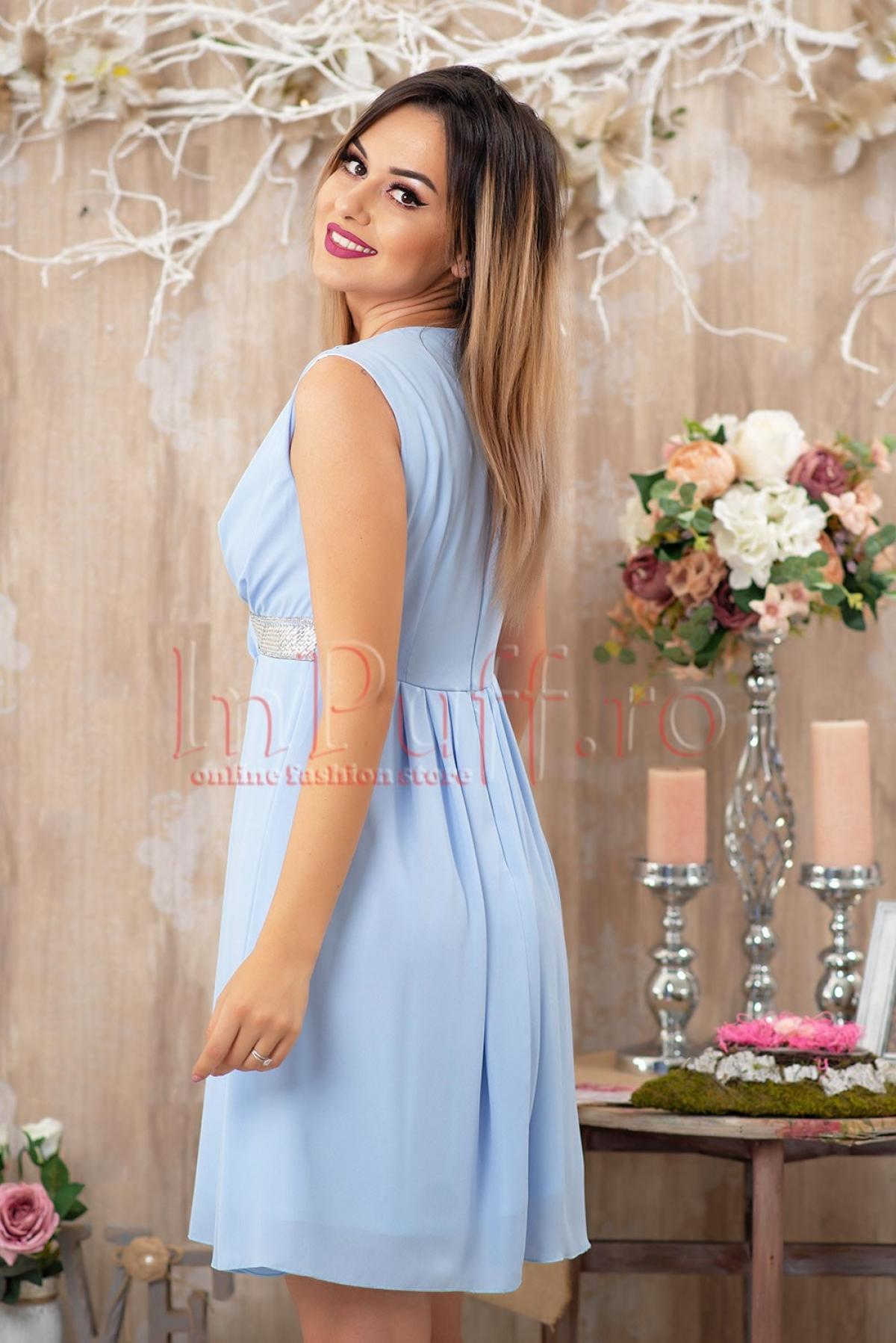 Rochie MBG eleganta din voal cu strasuri in talie