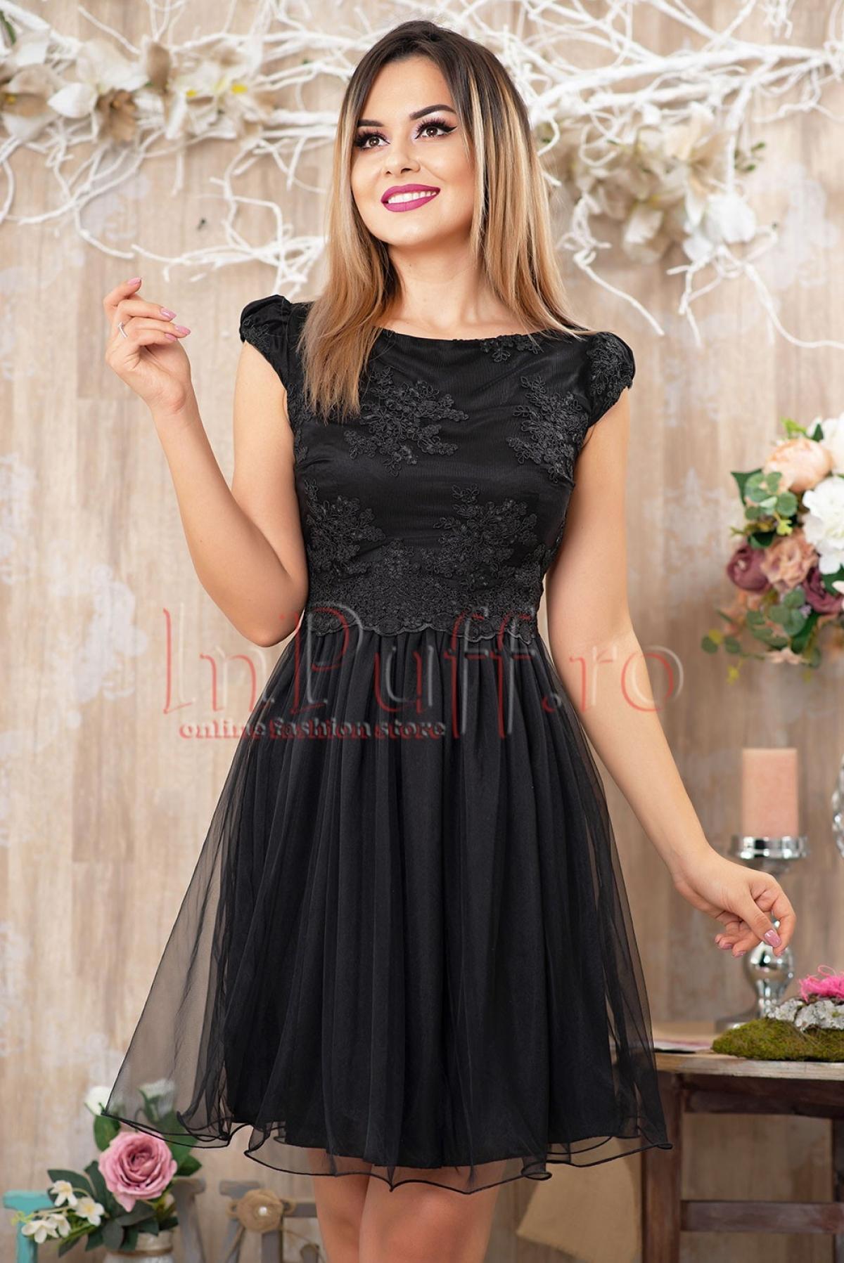 Rochie de ocazie din voal negru si broderie