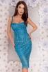 Rochie Atmosphere midi albastra din dantela brodata